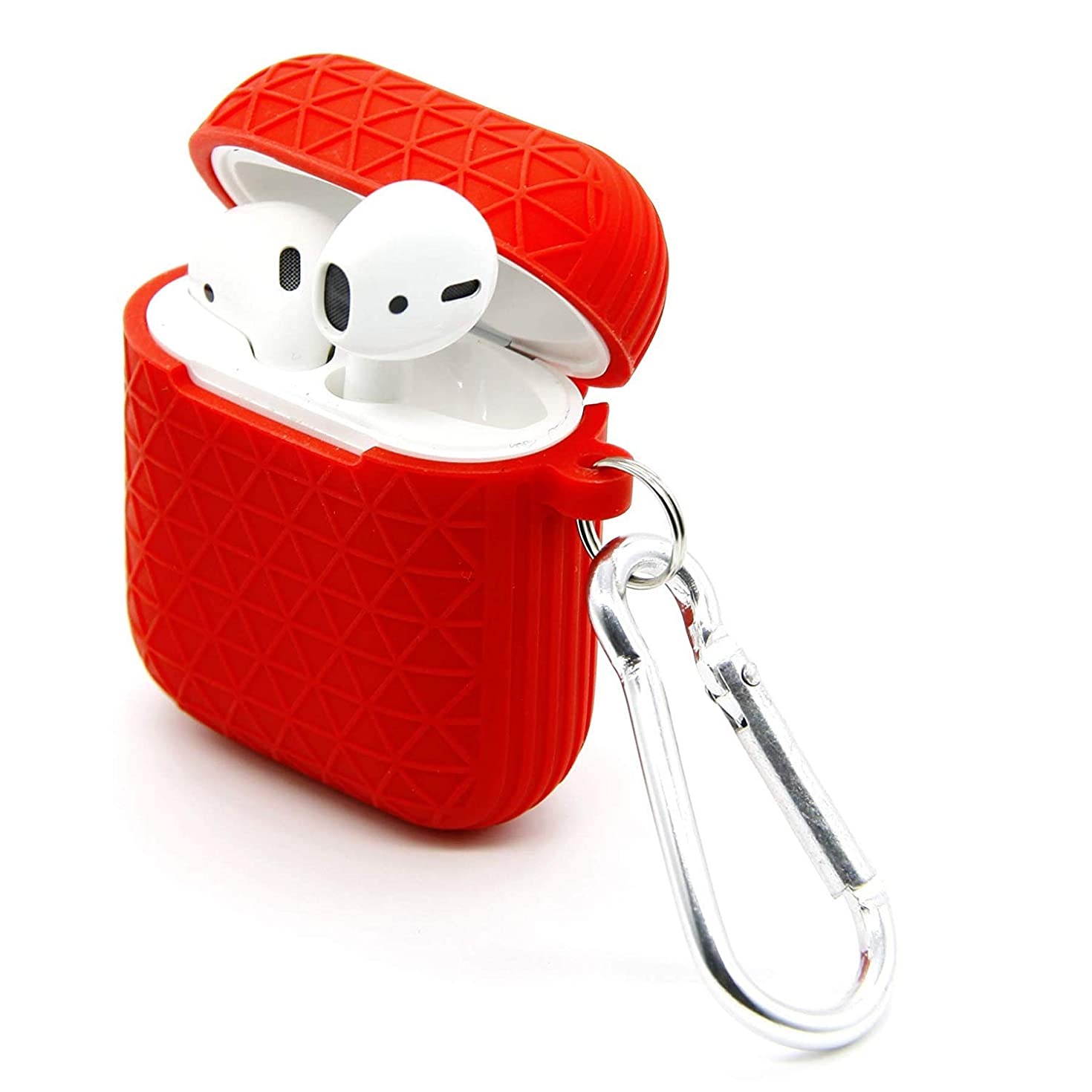 Silicone Case for Airpods 1 & 2 with Keychain [Not for Wireless Charging Case], Shockproof Earphone Protective Cover Skin for Apple AirPod Charging Case Red