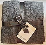 Barefoot Dreams CozyChic Rib Trim Throw Warm Gray/White 45 x 60
