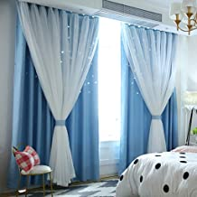 1pc Romantic Starry Sky Space Curtains for Bedroom Living Room, Elegant Blackout Curtains with Punched Out Stars, Double-Deck Cute Tulle Window Drapes, W59 H78 Inch