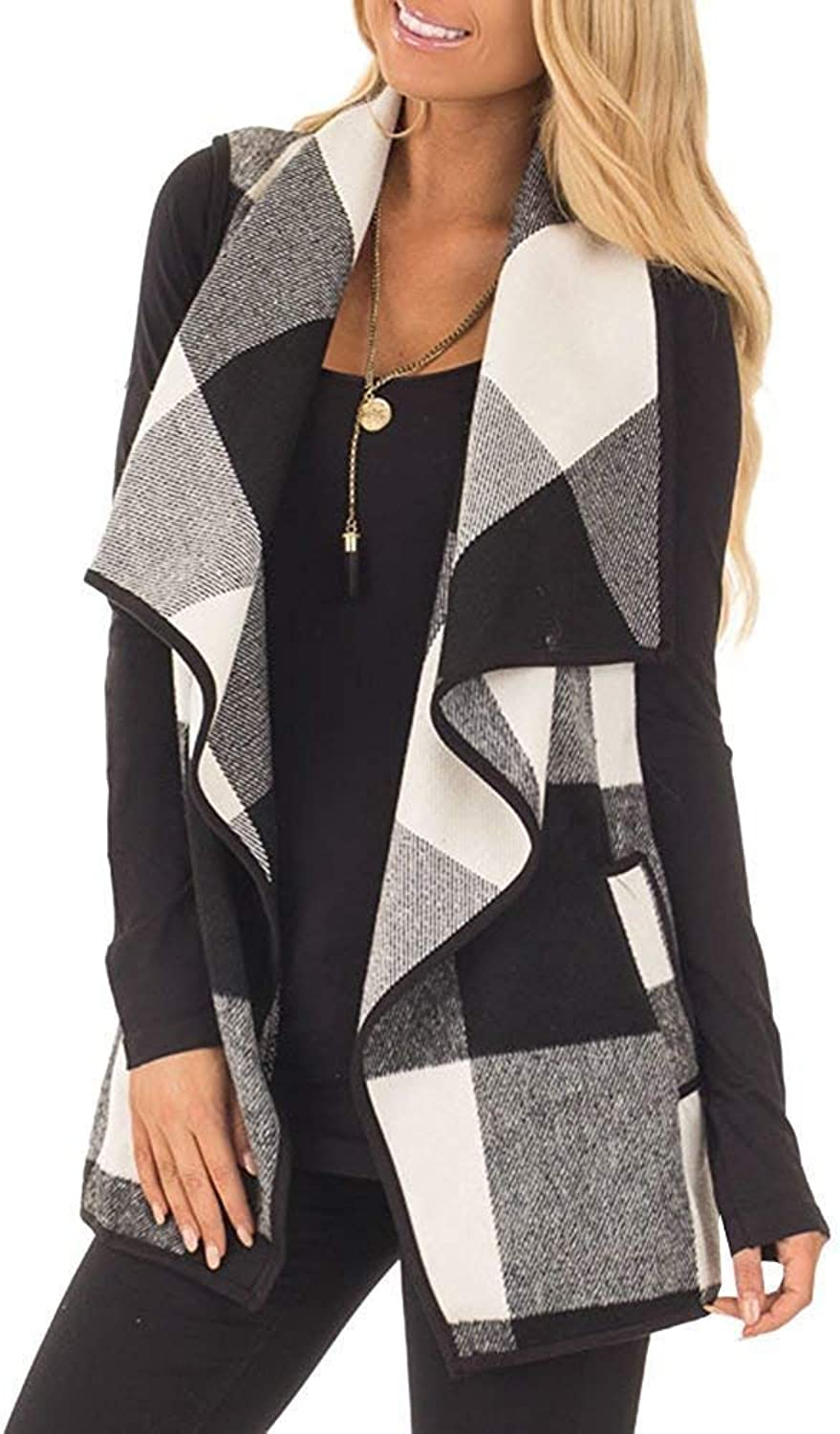 Imysty Womens Casual Open Front Sleeveless Plaid Vest Lapel Cardigan Jackets with Pockets