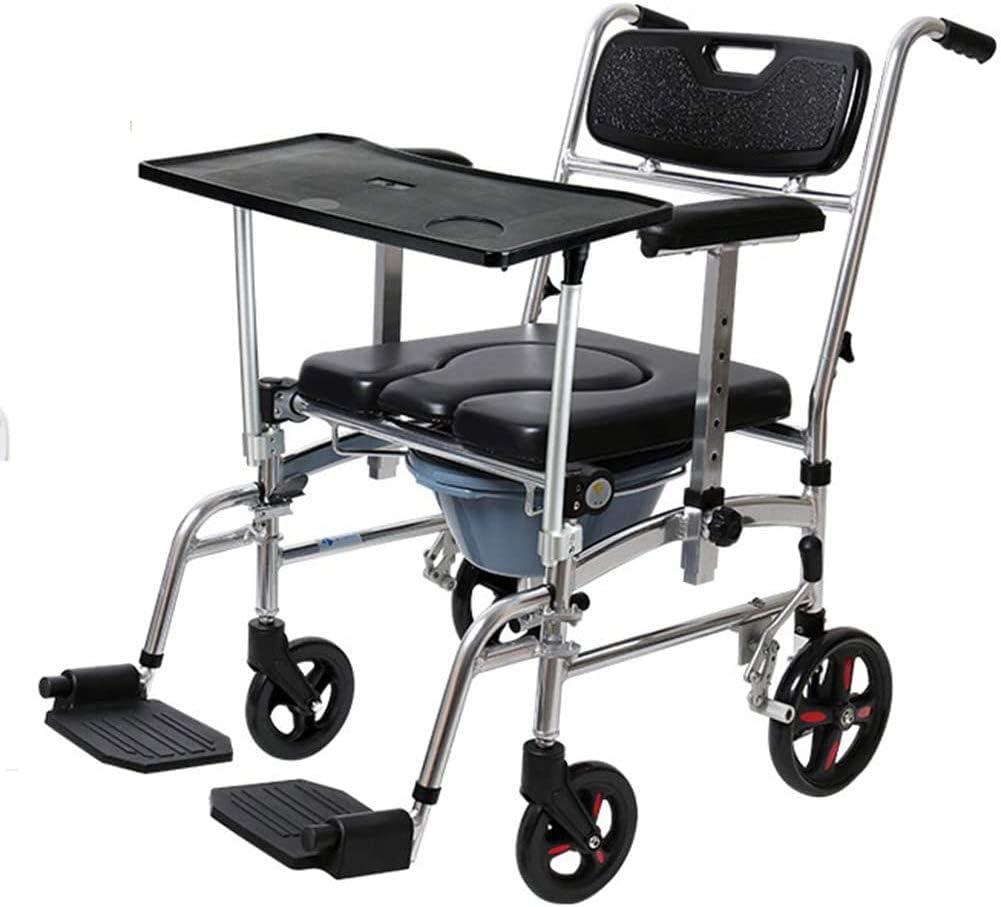YUXINCAI Aluminio Ligero Autopropulsado con Marco Plegable, Silla De Baño con Inodoro para Ancianos Discapacitados Silla De Ducha Profesional Elevador De Pacientes Multifunción