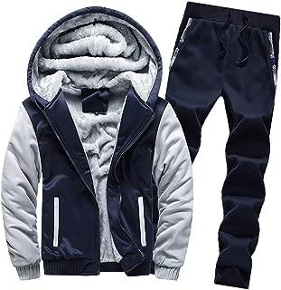 Winter Tops Pants Sets Mens Hoodie Warm Coat Fleece Zipper Jacket Patchwork Outwear Thick Tops Pants Sets