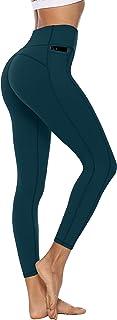 Persit Damen Sport Leggins mit Taschen, Blickdicht Sporthose Yogahose Streetwear