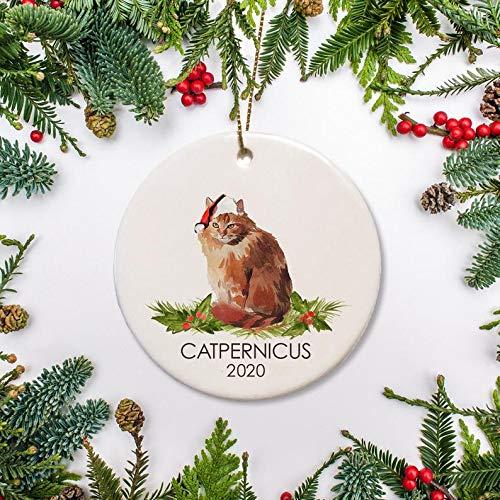 Regalo di Natale Giallo Capelli Lunghi Gatto Ornamento Di Natale, Personalizzato Gatto Ornamento Foresta Norvegese Gatto per Amante Gatto