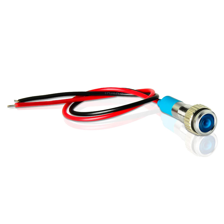Green Yellow Red Blue White 5 Pcs 5//16inch Gasher 12V//24V//110V 20mA Energy Saving Indicator Light Mounting Hole Size 8mm