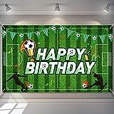 Telón de Fondo de Fiesta de Cumpleaños de Fútbol Fondo de Foto de Campo de Fútbol Decoraciones de Fiesta de Cumpleaños de Tema de Fútbol Cabina de Foto, 5,9 x 3,6 Feet