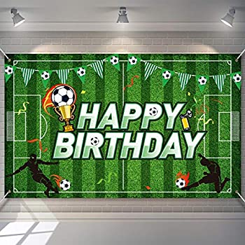 Soccer Birthday Party Backdrop Football Field Photo Background Soccer Theme Birthday Party Decorations Photo Booth Props for Boys Kids Cake Table Decorations 5.9 x 3.6 Feet