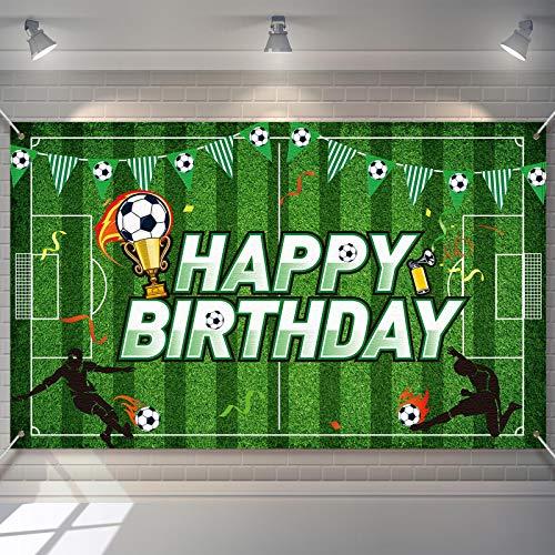 Sfondo di Compleanno Festa di Calcio Sfondo di Foto di Campo di Calcio Decorazioni per Feste di Compleanno a Tema Calcio Foto Props per Bambini Decorazioni da Tavola Torte, 5,9 x 3,6 Feet