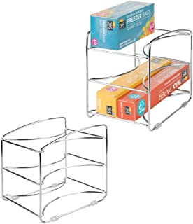 mDesign Mueble Auxiliar Cocina - Estante Cocina con 3 baldas - Estanteria Metalica en Color Cromado - Juego de 2 Unidades