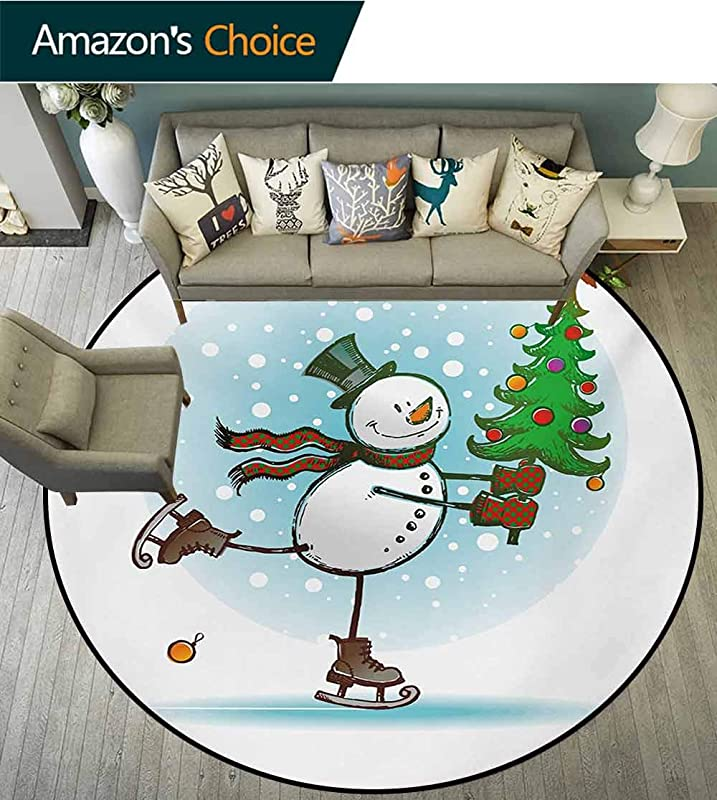 RUGSMAT Snowman Machine Washable Round Bath Mat Hand Drawn Style Skating Snowman With Christmas Tree And Hat Cold Winter Snowfall Non Slip No Shedding Bedroom Soft Floor Mat Round 31 Inch