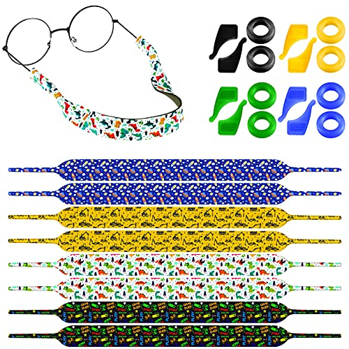 8 Sets Adjustable Eyeglass Strap, Holders for 3-12 Years Kids Christmas Present (Cartoon Style)