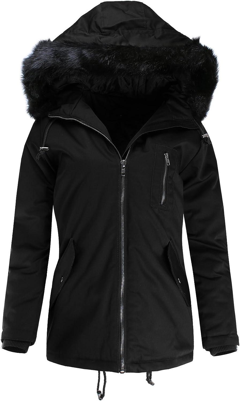 Ladies' Code Women's Water Resistant Black Faux Fur Hooded Zip Up Outwear Winter Jacket