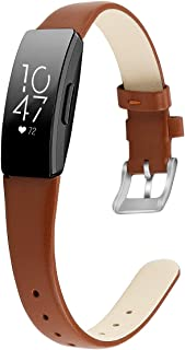 MEFEO متوافق مع سوار Fitbit Inspire / حزام HR من الجلد الأصلي الناعم سوار المعصم بديل لمتتبع اللياقة البدنية فيتبيت إنسباير