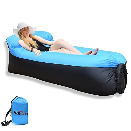 IREGRO Sofa Hinchable Tumbona Inflable Cama con Almohada integrada, portátil Impermeable 210T Poliester Aire sofá