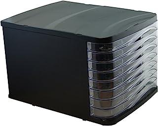 Waytex 931055 Bloc de Rangement Noir avec 8 Tiroirs Transparent