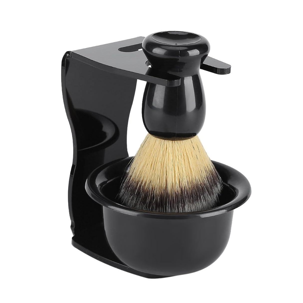 qiilu 【3点セット】シェービングブラシセット 洗顔ブラシ シェービング石鹸ボウル 剃刀スタンド ステンレススチール製 柔らかい 髭剃り 泡立ち 男性 ギフト理容