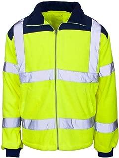 Mens Hi Vis Zip Up Long Sleeve Fleece Jacket Coat High Visibility Rain Patch Top Small/4X-Large