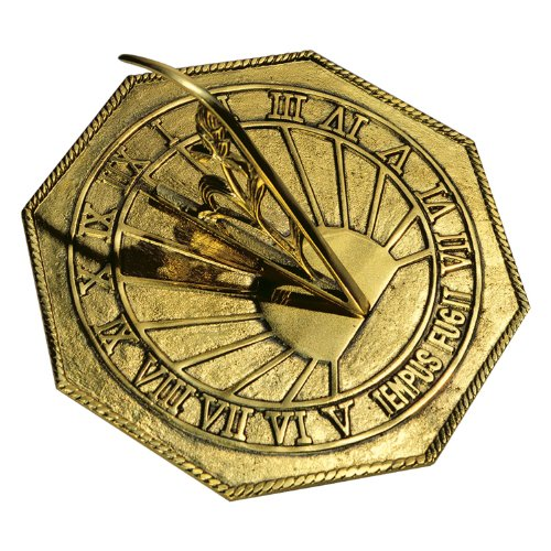 Rome 2390 Classic Octagonal Sundial, Sold Polished Brass, 10-Inch Diameter