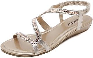 CYBLING Women's Low Wedge Dress Wedding Sandals Bohemian Open Toe Rhinestone Formal Bridal Flat Shoes