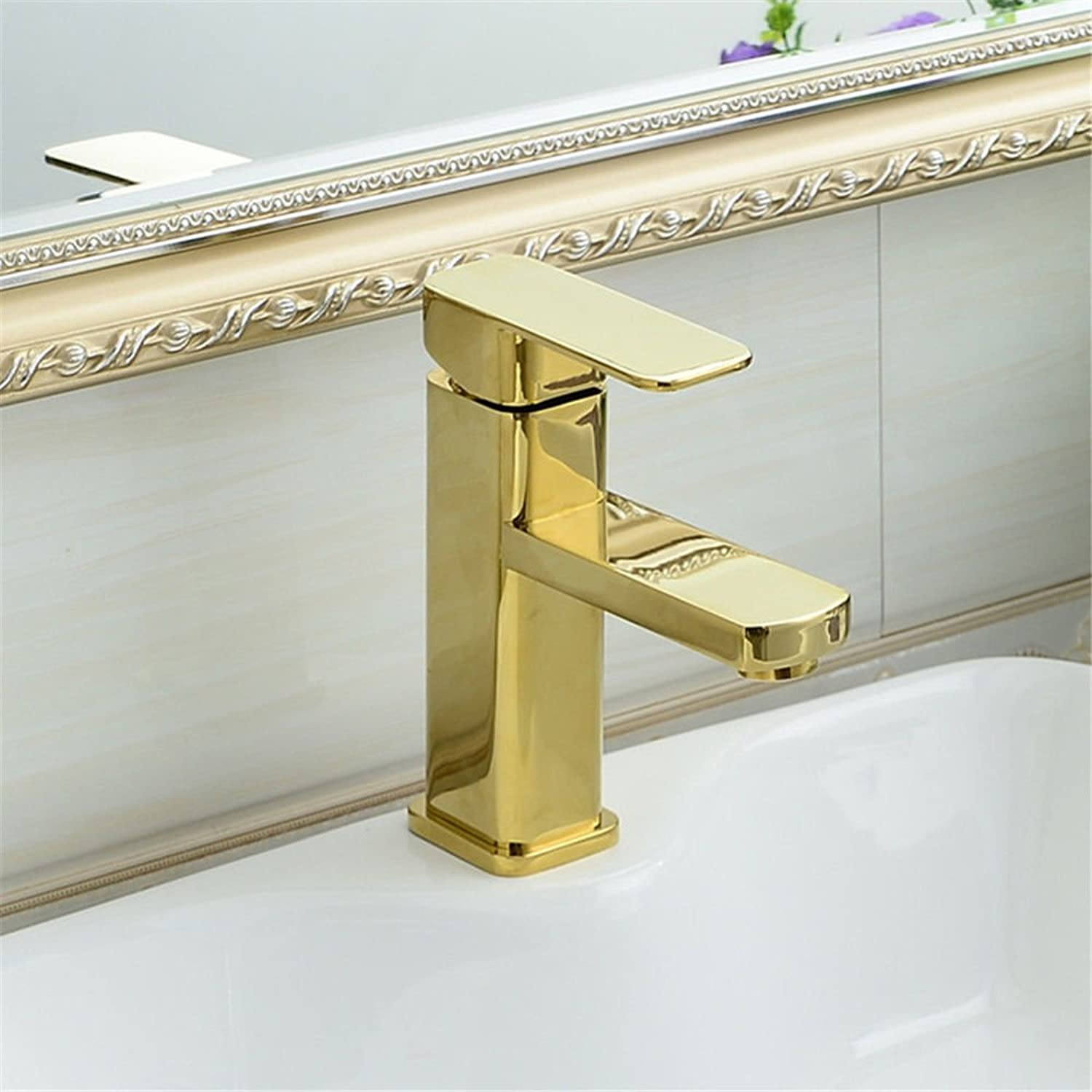 AQMMi Basin Sink Mixer Tap for Lavatory gold Single Lever Single Lever Hot and Cold Water Bathroom Vanity Sink Faucet