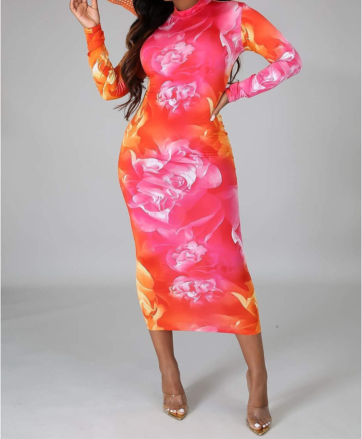 Women's Sexy Bodycon Dresses - High Neck Long Sleeve Leopard Print Tunic Long Maxi Pencil Dress