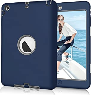 Hocase iPad Mini 2/3 Case, Heavy Duty Shockproof Protection Hard Plastic+Silicone Rubber Bumper Hybrid Dual Layer Protective Case for iPad Mini 1/2/3 (7.9-inch Display) - Navy Blue/Grey