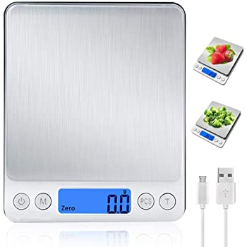 Báscula Digital para Cocina con Carga USB,Balanza de Alimentos Multifuncional Alta Precisión(3 kg-0.1g) Peso de cocina Electrónica con LCD Retroiluminación, Plata [Clase de eficiencia energética A++]: Amazon.es: Hogar