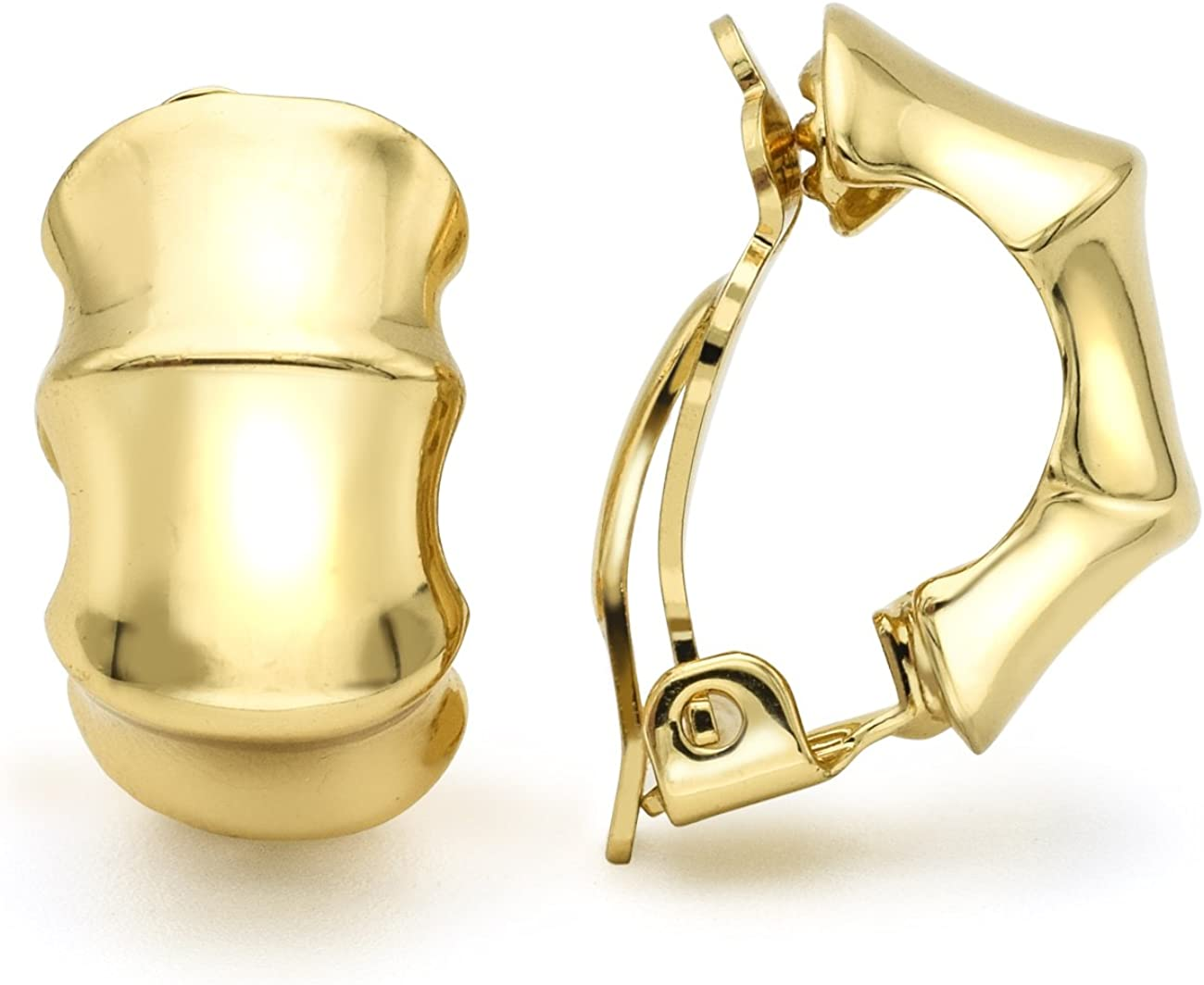 Bamboo Clip On OFFicial Earrings Max 85% OFF Gold Polished Half-Hoop Plated Women Fas