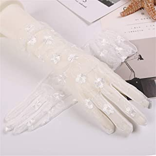 SHENTIANWEI Women's UV-resistant Embroidered Lace Long Armband Cuff (Color : White, Size : One size-Five pairs)