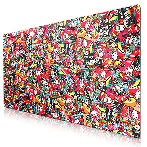 Gaming Mouse Pad, Anime Extra Large Mouse Pad - Computer Keyboard Extended Mouse Mat Personalized Design Mousepad Stitched Edges for Game Players 35.4x15.7 inch (9040 caiseA18)