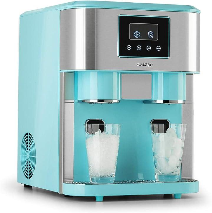 Macchina per ghiaccio, 3in1: cubetti, granatina, acqua fredda, 2 dimensioni cubetti, 15-18 kg/24h klarstein ICE5-90300-rfwa