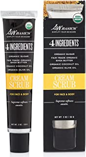 S.W. Basics Cream Scrub Exfoliator for Face and Body, Hydrates and Smooths with Sugar, Shea Butter, Coconut, and Olive Oils, Organic and Cruelty Free, 2.0 oz
