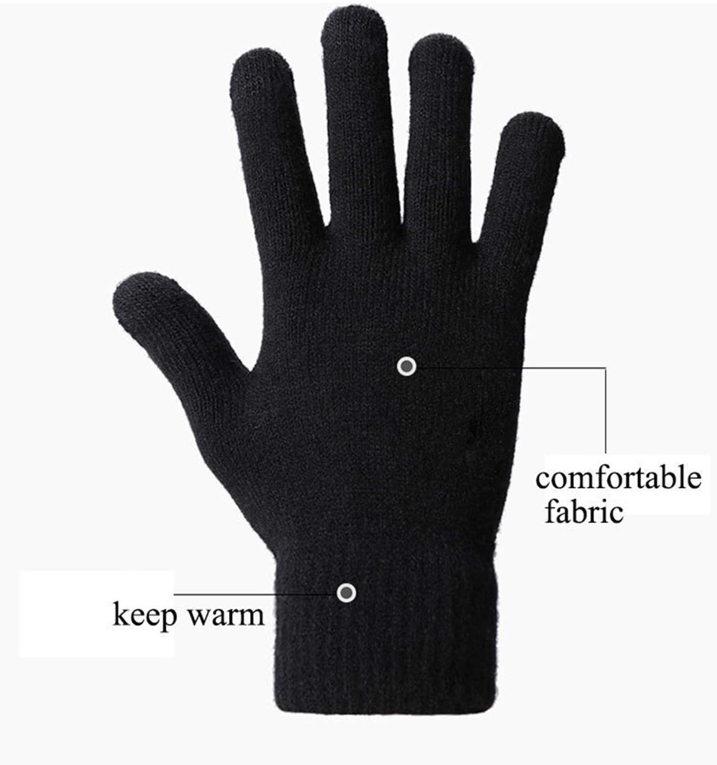 JBIVWW Outdoors Anti-Slip Warmer Plus Size Men Gloves Thicken Knitted Mittens Winter Autumn Gloves Touch Screen Gloves (Color : Dark Grey)
