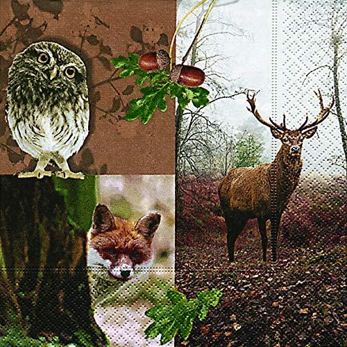 Lot de 20 serviettes - Motif animaux de la forêt / cerf - 33 x 33 cm