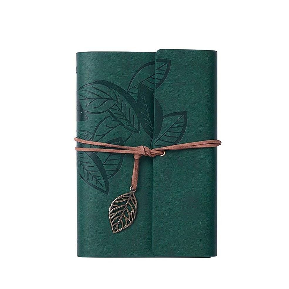 オフィスノート 簡単なノート旅行日記帳ルーズリーフレトロリーフメモ帳取り外し可能な本オフィス会議録本160ページ (Color : Dark green, サイズ : 12.5*18.3cm)