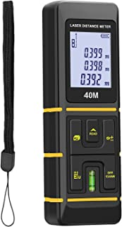 URCERI Laser Measure 131Ft Laser Measuring Device with Laser Tape Measure Bubble Levels,Backlit LCD, Pythagorean Mode, Measure Distance, Area and Volume - ±2mm Accuracy, Battery Included
