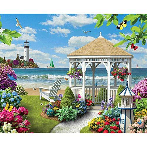 yaoxingfu Rahmenlos Nach Werken Ausmalbilder Landschaft Strandvilla Dekorationen 40x60cm