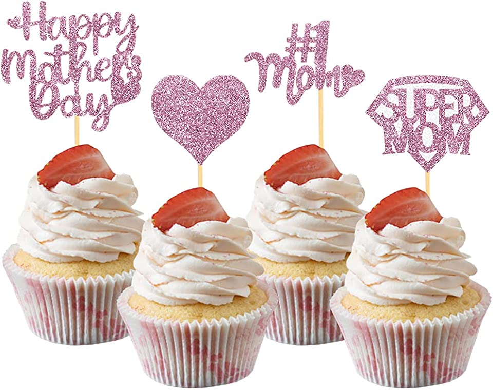 24Pcs Happy Mother's Day Cupcake Toppers, Glitter Super Mom Cupcake Picks Cake Decoration for Mother's Day Party Suppliles (Rose Gold)