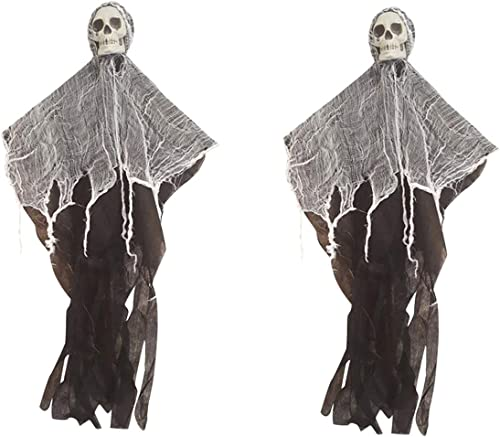2021 RiamxwR Halloween Skull Decoration, Hanging Skull discount Ornament Horror Atmosphere new arrival Door Window Wall Grimace Hanging Pendant House Entrance Ghost Ornaments (2pcs) online sale