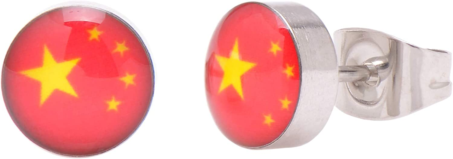 Paialco 7mm Round Stainless Steel Studs Flag National Earrings OFFicial trust store