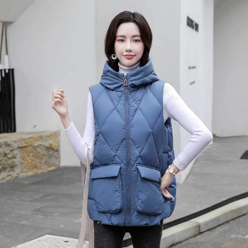 RSTJ-Sjc Women Quilted Zip Gilet Hooded Sleeveless High Neck Vest Jacket Down Cotton Vest Female Winter Casual Down Faux Loose Cotton Vest Thick Coat Ideal for Cold Weather,Blue,XXL
