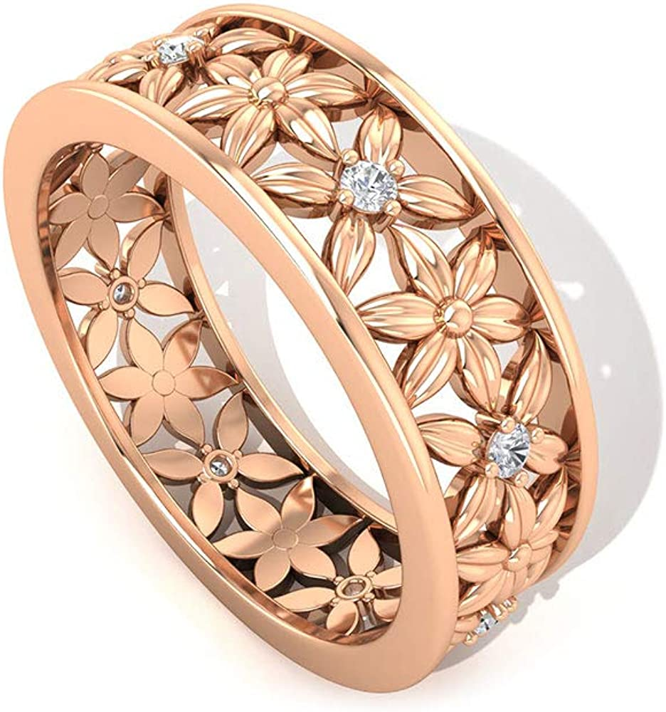 Moissanite Floral Wide Band Ring (AAA Quality), 14K Gold