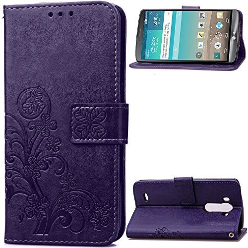 Leather Wallet Case for LG G3 PU Leather Magnetic Flip Cover with Card Slots Holders Bookstyle Wallet Case for LG G3 - JESD051125 Purple