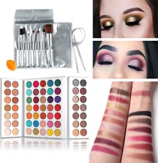 Beauty Glazed Gorgeous Me Eyeshadow Palette Matte Professional 63 Colors Eyeshadow Cosmetic Matte Eyeshadow Cream +Makeup Brushes Set and Powder Blender Sponge
