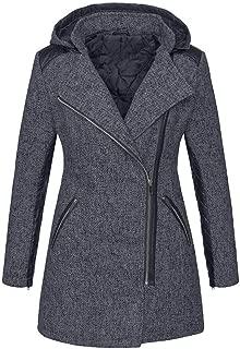 Women's Winter Warm Zipper Hooded Sweatshirt Jackets Plus Size Slim Fit Pockets Fashion Parka Overcoat Coat Daorokaduhp