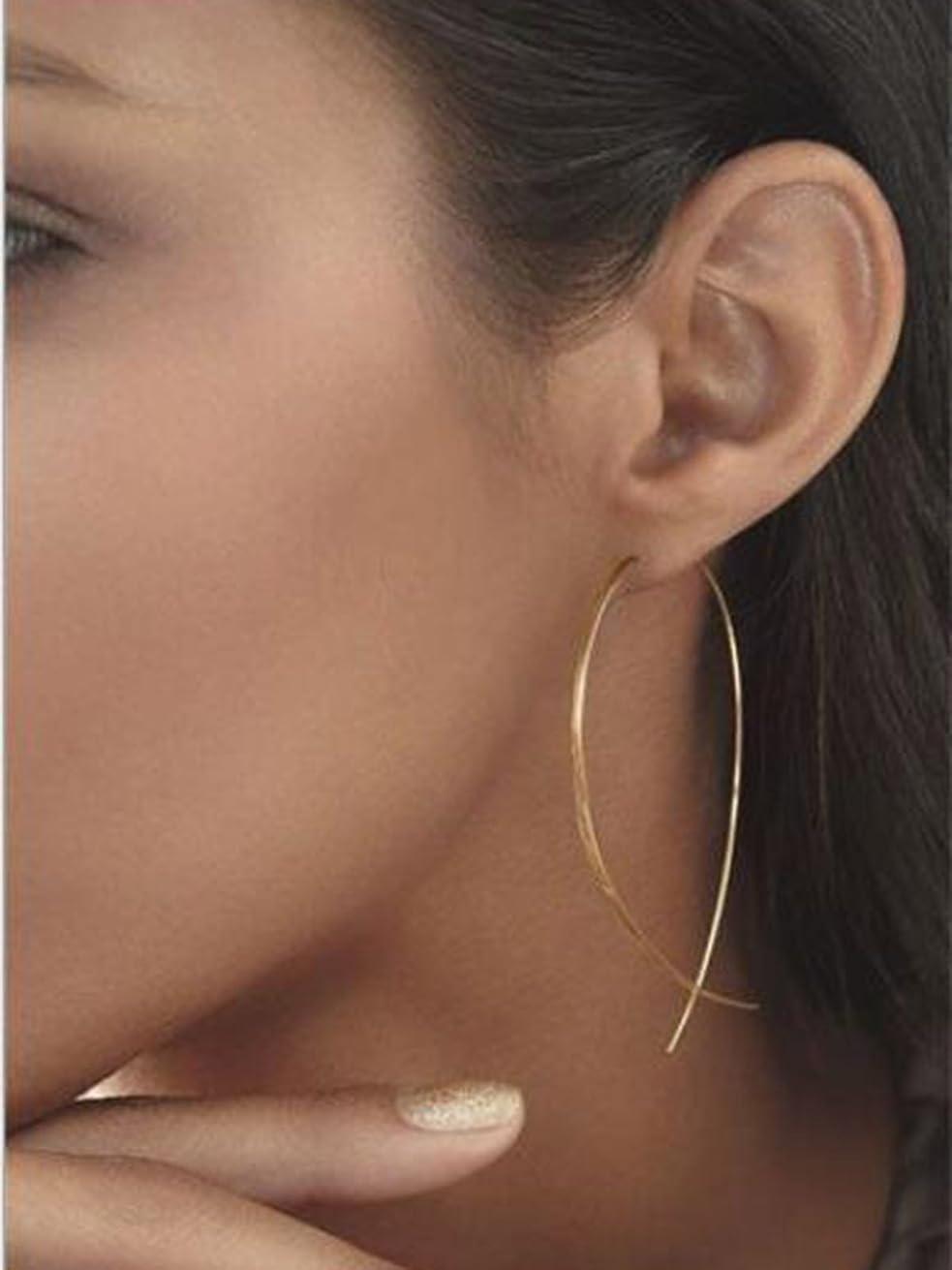 LittleB Simple Threader Earring Charm Geometric Long Line Ear Student for Women and Girls. (Gold)