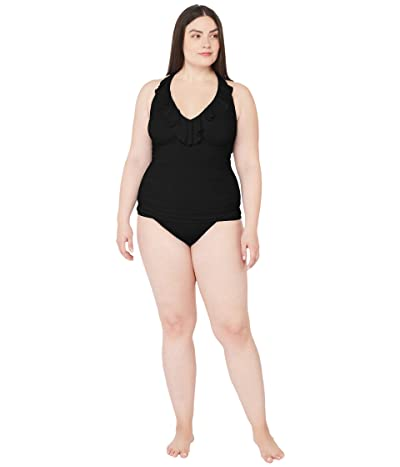 LAUREN Ralph Lauren Plus Size Beach Club Solids Underwire Tankini (Black) Women