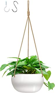 GROWNEER 7 Inches Ceramic Hanging Planter with 2 Hooks, White Porcelain Wall Hanging Plant Holder Flower Pot with 3 Jute R...
