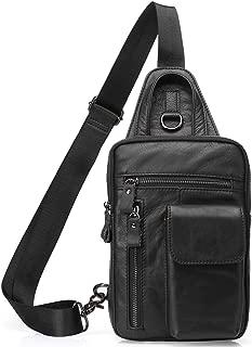 Men's Leather Sling Bag Multipurpose Crossbody Shoulder Chest Daypack Backpacks Outdoor Travel Packs (Black)