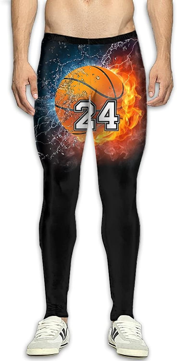Mens Number 24 Basketball Player Compression Pants Sport Tight Leggings Elastic Waist Baselayer Yoga Sports Trousers